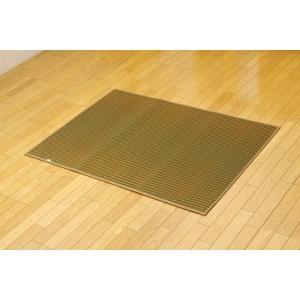 代引不可/純国産 シンプルい草ラグカーペット『Fリブロ』 グリーン 95×130cm/代引不可 three-s7777