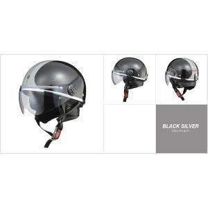 代引不可/小型バイク専用 オーワン (O-ONE) ハーフヘルメット ブラックシルバー/代引不可 three-s7777