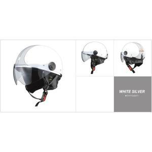 代引不可/小型バイク専用 オーワン (O-ONE) ハーフヘルメット ホワイトシルバー/代引不可 three-s7777