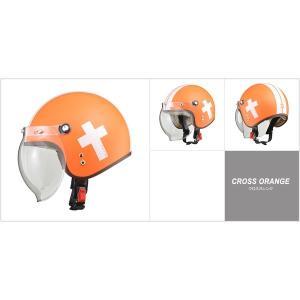 代引不可/レディース NOVIA(ノービア) バブルシールド付スモールロージェットヘルメット クロスオレンジ/代引不可 three-s7777