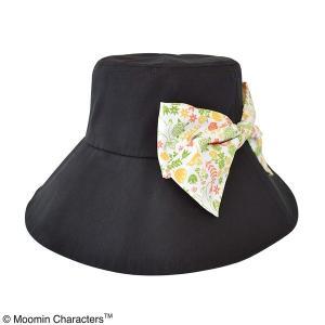 代引不可/〔保育士さん〕ムーミン 折り畳みつば広帽子 フラワーブラック/代引不可 three-s7777