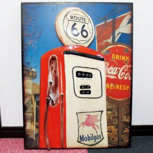 【5000円まとめ買いで送料無料♪】 ブリキ 看板 ROUTE66 ガソリンスタンド Mobilgas 看板 アメリカン雑貨 店舗用 ビンテージ仕上げ 【アンティーク調】|three-stone-ys