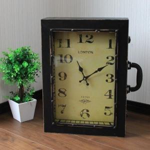 【 アンティーク調 】 時計型バッグ 鞄 小物入れ 時計の形をしたユニークグッズ Lサイズ 【 インテリア 雑貨 家具 】|three-stone-ys