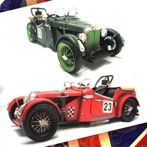 【アンティーク調】ブリキ クラシックカー 名車 MG レトロ ホビー 模型 おもちゃ|threestone