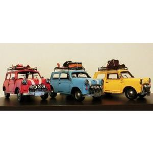 【アンティーク調】ブリキ クラシックカー ミニクーパー レトロ ホビー 模型 おもちゃ|threestone