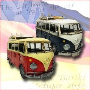 【アンティーク調】ブリキ クラシックカー ワーゲンバス[サーフボード付] レトロ ホビー 模型 おもちゃ|threestone