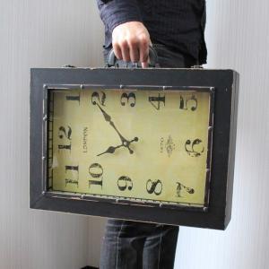 【 アンティーク調 】 時計型バッグ 鞄 小物入れ 時計の形をしたユニークグッズ Lサイズ 【 インテリア 雑貨 家具 】 threestone