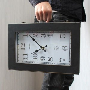 【 アンティーク調 】 時計型バッグ 鞄 小物入れ 時計の形をしたユニークグッズ Sサイズ 【 インテリア 雑貨 家具 】 threestone