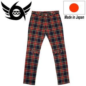 666 ORIGINAL Stretch Bondage Slim Jeans (ストレッチボンデッジスリムジーンズ) ネイビー/レッドタータンチェック SOP107 threewoodjapan