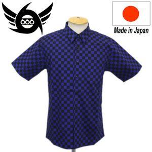 666 2-Tone Checker Flag Shirt S/S (2トーンチェッカーフラッグシャツ) 半袖 ブラック/ブルーチェック SOS097 threewoodjapan