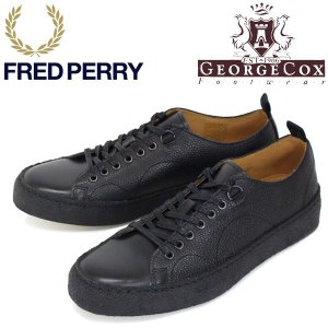 FRED PERRY (フレッドペリー)XGEORGE COX (ジョージコックス) Wネーム B1174-102 TENNIS SHOE S/L スニーカー 102-BLACK FP267|threewoodjapan