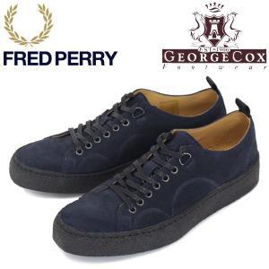 FRED PERRY (フレッドペリー)XGEORGE COX (ジョージコックス) Wネーム B1179-608 TENNIS SHOE SUEDE スニーカー 608-NAVY FP268|threewoodjapan