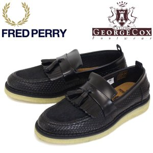 FRED PERRY (フレッドペリー)XGEORGE COX (ジョージコックス) Wネーム B2272-102 TASSEL LOAFER RERF LEATHER タッセル レザーローファー 102-BLACK FP278|threewoodjapan