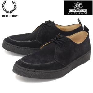 FRED PERRY (フレッドペリー)xGEORGE COX (ジョージコックス) Wネーム B8280-102 POP BOY SUEDE (ポップボーイスエード) BLACK (ブラック) FP234|threewoodjapan