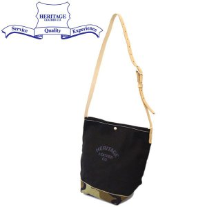 HERITAGE LEATHER CO.(ヘリテージレザー) NO.8105 Bucket Shoulder Bag(バケットショルダーバッグ) Black/WoodlandCamo HL202|threewoodjapan