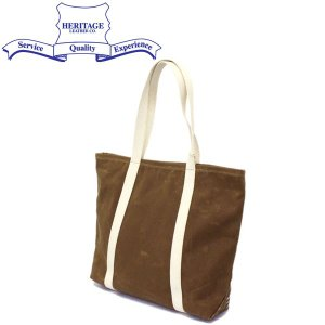 HERITAGE LEATHER CO.(ヘリテージレザー) NO.8554 Waxed Canvas Tote Bag (ワックスキャンバストートバッグ) Wax Brown HL196|threewoodjapan