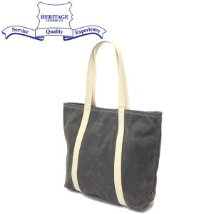 HERITAGE LEATHER CO.(ヘリテージレザー) NO.8554 Waxed Canvas Tote Bag (ワックスキャンバストートバッグ) Wax Charcoal HL198|threewoodjapan