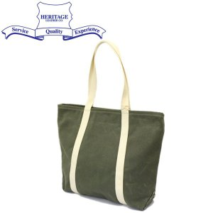 HERITAGE LEATHER CO.(ヘリテージレザー) NO.8554 Waxed Canvas Tote Bag (ワックスキャンバストートバッグ) Wax Olive HL197|threewoodjapan