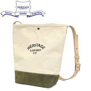 HERITAGE LEATHER CO.(ヘリテージレザー) NO.8661 Suede Bottom Bucket Shoulder(バケットショルダーバッグ) Natural/Moss HL205|threewoodjapan