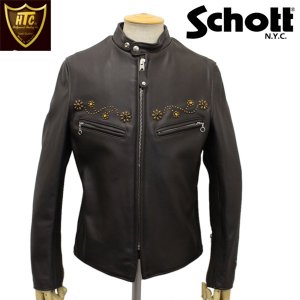 HTC(Hollywood Trading Company)xSCHOTT(ショット) 641XX STAND RIDERS JACKET #24 STUDS(スタンドライダースジャケット #24スタッズ) BROWN|threewoodjapan