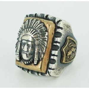 sale セール HTC(Hollywood Trading Company) Mexican Ring(メキシカンリング) INDIAN HEAD2(インディアンヘッド2) Silver Square Body threewoodjapan