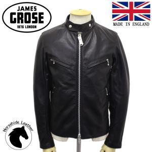 JAMES GROSE (ジェームスグロース) G04-12 MEN'S CLUBMAN HHL JKT (メンズ クラブマン ホースハイド レザージャケット) BLACK JG018|threewoodjapan