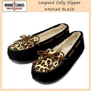 MINNETONKA(ミネトンカ) Leopard Cally Slipper(レオパードキャリースリッパ) #40160 BLACK レディース MT267