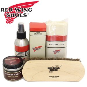 RED WING(レッドウィング) ヌバック レジンコート 明るいレザー用ブーツケア4点セット (レザークリーム プロテクター クリーナー ブラシ)|threewoodjapan