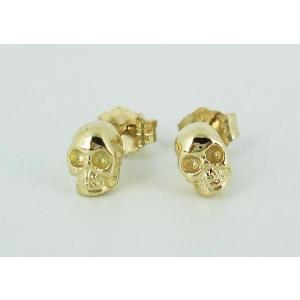 sale セール Royal Order(ロイヤルオーダー)Skull Studs pierce 18K Yellow Gold(スカルスタッヅピアス イエローゴールド) 1pair threewoodjapan