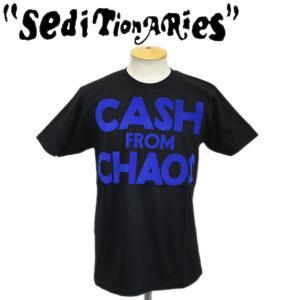 SEDITIONARIES by 666 (セディショナリーズ) CASH FROM CHAOS Tシャツ ブラックxブルーフロッキー STO105|threewoodjapan