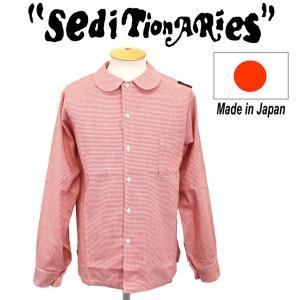 SEDITIONARIES by 666 (セディショナリーズ) Peter Pan shirt L/S (ピーターパンシャツ ロングスリーブ) レッド千鳥格子 STS104|threewoodjapan