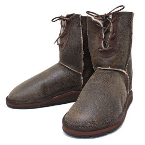 sale セール THE SANDALMAN(サンダルマン) LACE UP SHEEP SKIN BOOTS(シープスキンブーツ) BROWN ANTIQUE/NAT S025 threewoodjapan