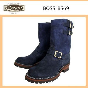 Wescoウエスコ Boss ボス Navy Rough Out ネイビーラフアウト,9height,#100sole,2straps,Brass Bucles BS69|threewoodjapan