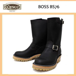Wescoウエスコ Boss ボス Black Leather, 10height, #100HoneySole, Nickel Buckles BS76|threewoodjapan