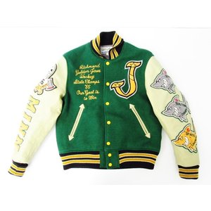 WHITEVILLE Letterman スタジャン グリーン/緑 SIZE:38(M) 中古  12/10値下済|thrift-webshop