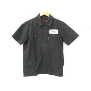 《メンズジャケット》Schott ショット 刺繍 半袖ワークシャツ ブラック SIZE:S 中古|thrift-webshop