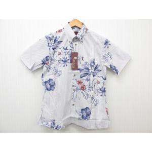 MAJUN マジュン Yuuna Haibi Stripe かりゆしウェア 半袖 ネイビー SIZE:S|thrift-webshop
