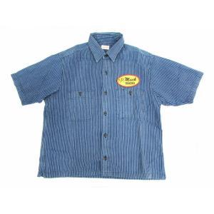 SUGAR CANE シュガーケーン ストライプシャツ ヒッコリー 刺繍 半袖 SIZE:M|thrift-webshop