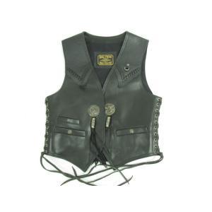 BIG TWIN ビックツイン レザーベスト サイドレースアップ ブラック 黒 SIZE:40|thrift-webshop
