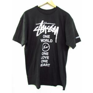 Stussy ステューシー × 藤原ヒロシ(Fragment Design) One World One Heart Tee 半袖Tシャツ ブラック 黒 SIZE:L|thrift-webshop