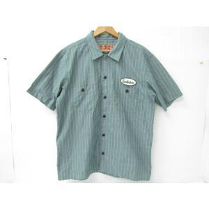 TENDERLOIN テンダーロイン ストライプ ワークシャツ 半袖 ワッペン SIZE:L|thrift-webshop