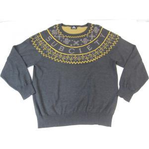 《メンズトップス》Subciety サブサエティー 長袖 ペイズリーパターン セーター グレー SIZE:L メンズ ストリート系 衣類 thrift-webshop