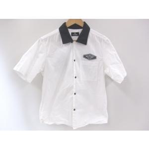 《メンズトップス》Subciety サブサエティ 半袖 ワークシャツ ホワイト メンズ サイズM 中古 thrift-webshop