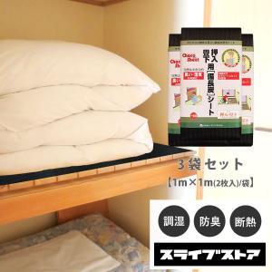 押入れ カビ 湿気対策 押入れシート  国産備長炭シート(1m×1m/2枚入)3袋セット