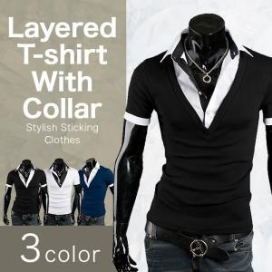ポロシャツ メンズ Tシャツ カットソー 半袖 レイヤード襟付き ゴルフウェア トップス カジュアル コーデ BUZZ WEAR[バズ ウェア]|thumbs-up