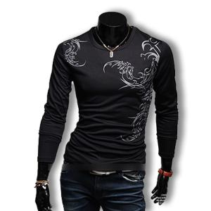 Tシャツ メンズ ロンT ストレッチ カットソー 長袖 プリント ロングスリーブ トップス お兄系 コーデ BUZZ WEAR[バズ ウェア]|thumbs-up