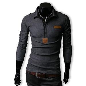 ポロシャツ メンズ Tシャツ ロンT カットソー 長袖 ロングスリーブ エポレット ゴルフウェア トップス カジュアル オラオラ系 BUZZ WEAR[バズ ウェア]|thumbs-up