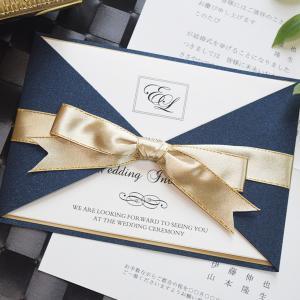 W160mm×H115(閉じた状態)  定形サイズ  招待状発送の郵送料は92円です。    藍色...