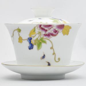 描金蓋碗(牡丹)容量160ml(満水230ml)
