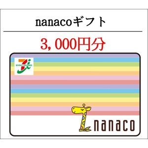 コード専用 ナナコギフトカード(nanacoギフト) 3000円分 (ギフト券・商品券・金券・ポイン...